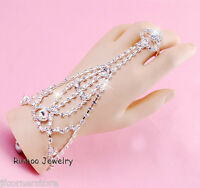 STUNNING BRACELET HAND HARNESS CHAIN LINK WITH FINGER RING- SPARKLING BRAND NEW