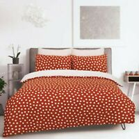 Duvet Cover Set - King Size Cotton Polyester Bedset Rust Polka Dot Bedding Set