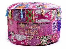 New Large Indian Round Seating Pouf Cover Footstool Vintage Patchwork Ottoman US