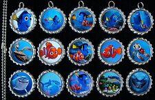 15 Finding Dory Silver Bottle Cap Pendant Necklaces Set 1