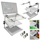 AxcessAbles LTS-03 Two-Tier Height Width Adjust DJ Laptop Stand  White