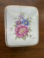 "HOLLOHAZA Hungary Hand Painted Floral Porcelain Covered TRINKET Box 3.5""w 1.5""h"