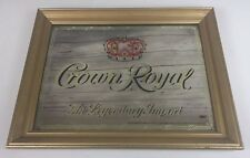 "Crown Royal Whisky Mirror Wood Frame Sign Bar Man Cave Vintage 19""X15"" Rare"