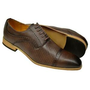 Antonio Cerrelli Men's Brown Woven / Pebbled Vegan Leather Cap Toe Oxford Shoes