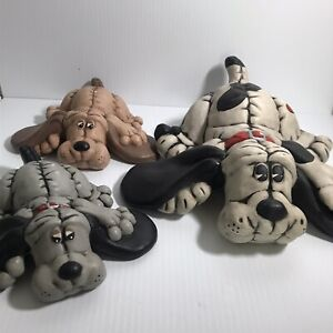 Vintage CERAMIC Pound Puppies Figurines Mother and Two Pups
