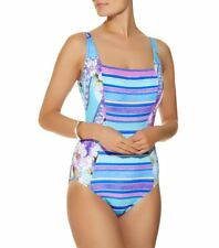 NEW GOTTEX Swimsuit HARRODS One-Piece Costume UK16/US14/D44/L Blue/Purple Stripe