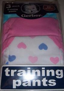 New Gerber 3pk Girl's Training Pants, Size 2T or 3T, Hearts