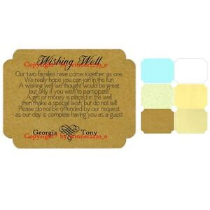 12 Personlized Heart Wedding Wishing Well Card + Envelpes Brown White BLUE CREAM