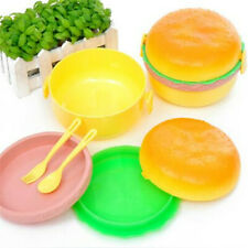 Lovely Hamburger Double Tableware Lunch Box Home Office Portable Supplies