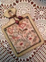 "Primitive Folk Art Punch Needle Original PATTERN, ""Alphabirdy Rose"""