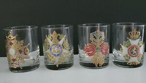 VTG Set of 4 Double Old Fashioned cocktail  Glasses With Gold Embossed Crest FS