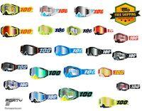 100% RACECRAFT MX ATV/UTV ANTI-FOG MIRROR OR CLEAR LENS GOGGLES + TEAR OFF