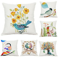Animal Cartoon Bird Pillow Case Home Decor Office Bed Cushion Cover Cotton Linen