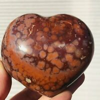 270g Natural Ocean Jasper Stone Heart-Shaped Crystal Quartz Reiki Healing