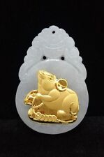 Genuine Certified yellow gold 12 Zodiacs Grade A Natural Jade pendant mothersday