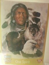 Native American Indian One Spirit 550 Piece Jigsaw Puzzle Eagle Buffalo Wolf