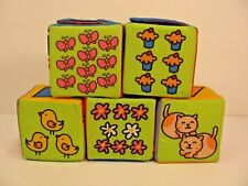 """Soft 3"""" Blocks 5 Foam Cubes Baby Toy Counting Numbers Shapes Washable Stackable"""