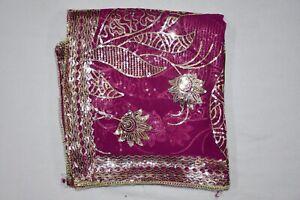 Floral Dgn Indian Wedding Dupatta Scarf Golden Sequins Embroidery Georgette Veil