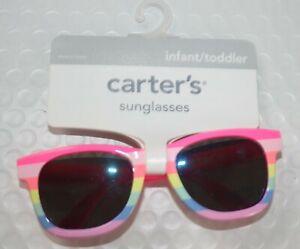 New Carter's Girls Sunglasses 100% UVA-UVB 0-24m 0-2 year Pink Yellow Stripes