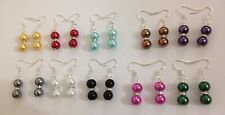 Beautiful mix color 8mm glass faux pearl tibet silver crystal dangle earrings