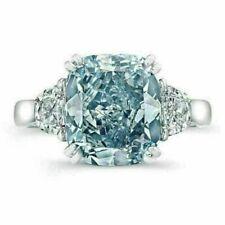 Engagem 00004000 ent Ring White Gold Finish 10 Ct Fancy Blue Cushion Diamond