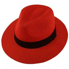 "Unisex Summer Light Panama Derby Fedora Wide 2-3/8"" Brim  Sun Hat Adjustable Red"