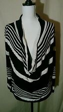 Maurices Size M Black White Stripe Plunge Neckline Long Sleeve Shirt
