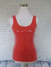 Express Red Sequined Evening Sleeveless Stretch Cami Tank Top Size XS NWT