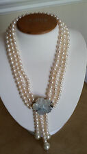 "Artisan CraftedTriple Strand Freshwater Pearl White Tassel Necklace 17 1/2"" Long"