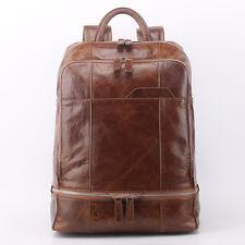Men Genuine Leather Travel Backpack School Bags Laptop Book bag Day Packs Brown