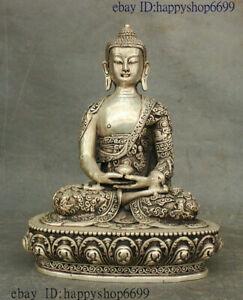 Collect Tibet Buddhism Temple Silver Shakyamuni Sakyamuni Amitabha Buddha Statue