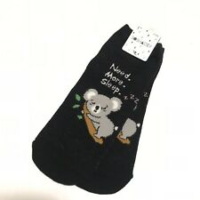 0394e26288b Forever 21 Socks Koala Print One Size Ankle Cotton Blend Women s Black