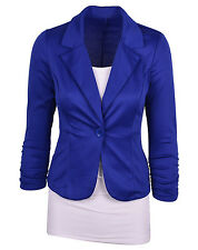 New Womens Candy Color Blazer Jacket Suit Work Casual Busines Long Sleeve Button