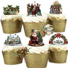29 Stand Up Vintage Victorian Christmas Edible Wafer Paper Cake Toppers