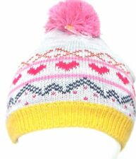 JOHN LEWIS Girls Fair Isle BOBBLE HAT Knitted Pink Grey Childs S/M 4-8 yrs
