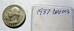 1937 Washington Quarter, Double Die Obverse DDO 003 Super Rare Variety XF AU