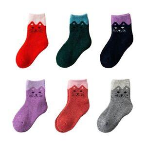 6 Pairs Toddler Boy Girl Kids Wool Socks Thick Thermal Warm Cotton Crew Socks UK
