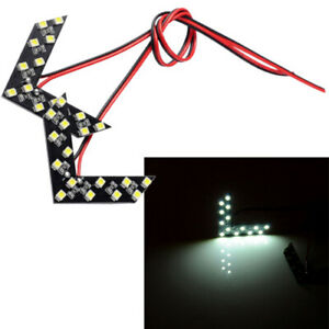 2Pcs 12V Double Row Arrow Panels LED Car Rear View Turn Light Signal White Lamp