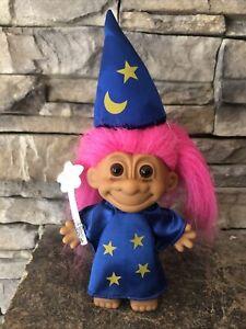 "Russ Troll Doll! 4 1/2"" Pink Hair Brown Eyes! Dressed As A Halloween Wizard!"