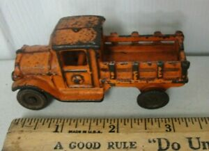 """Vintage Hubley 3 1/2"""" Cast Iron Stake Body Delivery Truck  """"NICE ORIGINAL"""""""