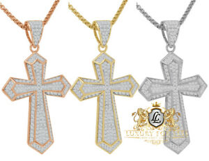 Sterling Silver 14K Gold Over Simulated Diamond Jesus Cross 3D Pendent Charm