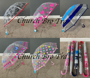 NEW Kids Umbrella Clear With A Print Boy's & Girls 5 Print's To Chose From