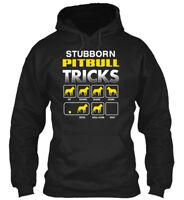 Pitbull Stubborn - Tricks Sit Down Shake Come Fetch Gildan Hoodie Sweatshirt