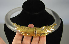 Estate Fabulous Frosted Lucite Scrolled Hinged Gold Tone Choker Necklace