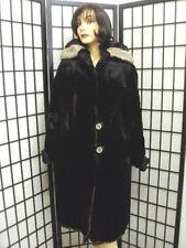 SCRAP BLACK SHEARED RABBIT W/ MINK FUR COAT JACKET FOR WOMEN WOMAN