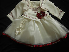 New Baby Girl Christening Christmas Eid Wedding Burgundy Ivory Party Dress 0-12y