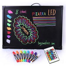 Pizarra LED 60x40 con mando y 8 rotuladores, luminosa Bar fondo negro Neon Board