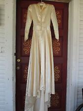 Vintage Champagne/Cream Colored Liquid Satin w/Train Handmade Wedding Dress sz.S