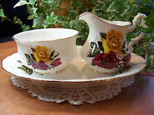 Set of 3 Pieces PARAGON Bone China Yellow Red Rose CREAMER SUGAR PLATE 1960's