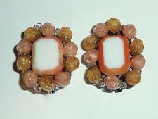 VINTAGE WEST GERMANY - ORANGE CONFETTI LUCITE & GLASS CLIP-ON EARRINGS